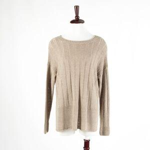 VINCE – Light Brown Linen Knit Long Sleeve Sweater